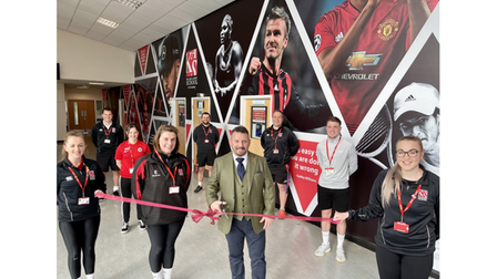 The King Alfred School Academy with 40-foot sporting greats wall
