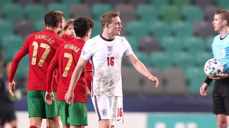 England's Oliver Skipp reacts after the final whistle during the 2021 UEFA European Under-21 Champio
