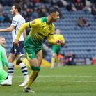 Adam Idah of Norwich City celebrates scoring the first goal against Preston North End during the FA