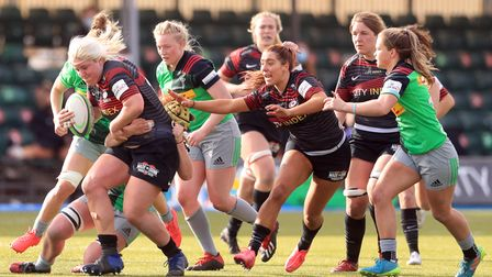 Saracens' Bryony Cleall gets tackled during the Women's Allianz Premier 15's match at the StoneX Sta