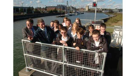 Holywells High School pupils at Ipswich docks in 2005