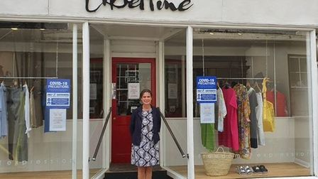 North Devon MP Selaine Saxby outside Libertine on South Molton High Street