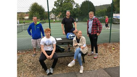 Ben Tilling with members of Backwell Tennis Club
