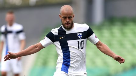 Finland's Teemu Pukki in action during the UEFA Nations League Group 4, League B match at Aviva Stad
