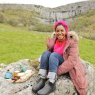 Nadiya Hussain enjoying fruitcake and Wensleydale cheese at Malham Cove
