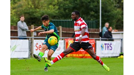 Joel Randall in action for Weston during their 1-1 draw with Kingstonian