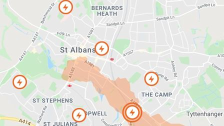 Much of St Albans has been hit by a power cut.