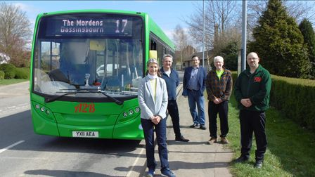 Councillors celebrated the launch of a new bus service in South Cambs and Royston