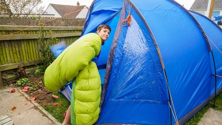 Max has spent an entire year sleeping in a tent in his garden