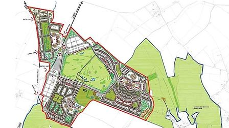 The proposed development, outlined in red