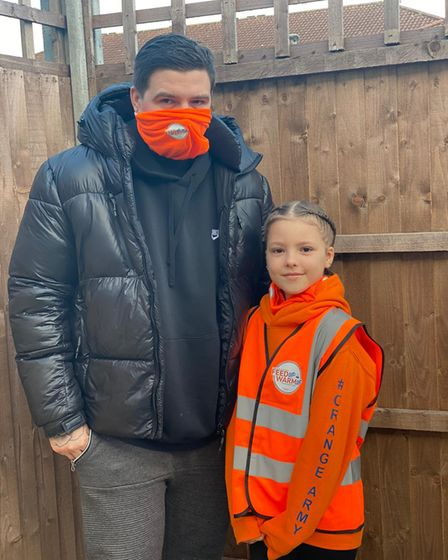 Sienna has been going out running with her step dad Luke to raise money for Feed Up Warm Up