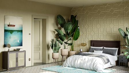 A relaxing, minimalist bedroom interior scheme with plants.