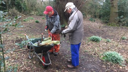 Members of the Gunton Woodland Community Project (GWCP) preparing to plant new trees.