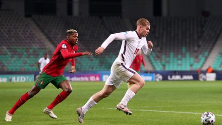 England's Emile Smith Rowe (right) during the 2021 UEFA European Under-21 Championship group D match