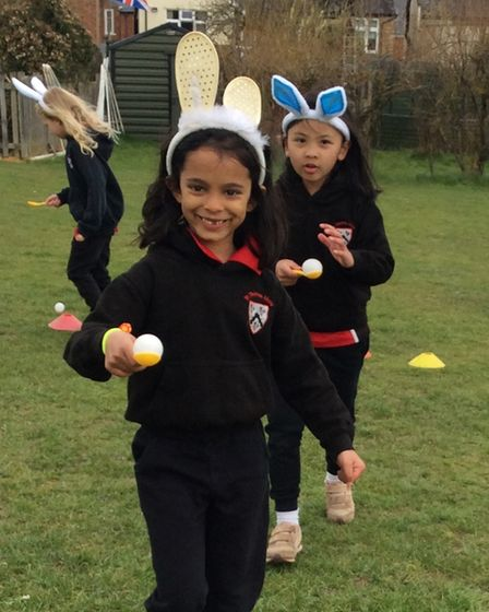 An egg and spoon race at St Thomas More Catholic Primary School, Saffron Walden