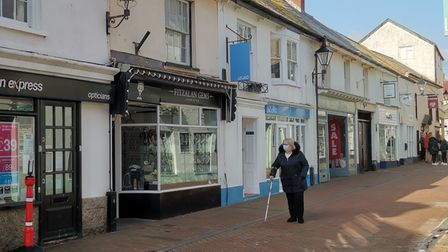 Shops along Old Fore Street, Sidmouth.