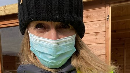 Louise Minchin working at the Chester Racecourse vaccination centre