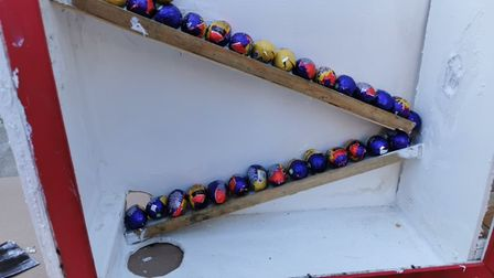 Creme Eggs are awarded to winners by a chute
