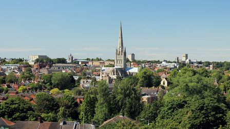 A photo taken from Mousehold Heath on a Summer's day in the city of Norwich.