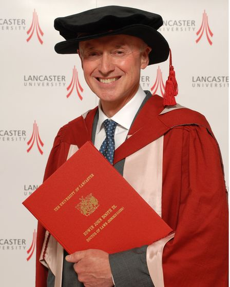 Edwin was given an honorary doctorate from Lancaster University