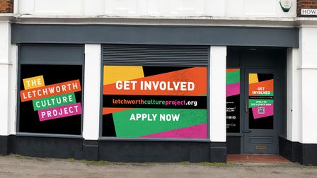 A shop front in Howard Park Corner advertising the new Letchworth Culture Project.