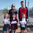 Mr Smith and Mr Weir with year 4 pupils Jenny Buchanan, Annie (Hay and Emma Hay