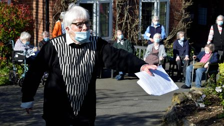 Resident Dr Jean Scott, 88, read a statement in front of her fellow residents