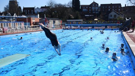 The Beccles Lido opens in glorious weather. Picture: DENISE BRADLEY