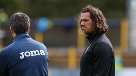 Hitchin Town coach Brett Donnelly on the touchline