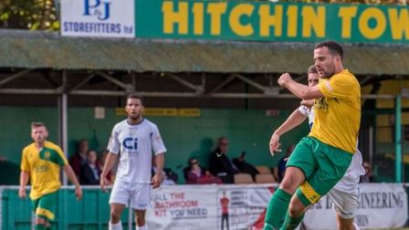 Hitchin Town's Brett Donnelly fires off a shot