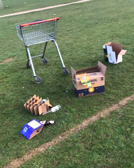 A shopping trolley and other rubbish left behind in Verulamium Park. Picture: Inn on the Park.