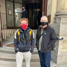 Dr Ben Buse andReverend Tim Hewes outside the City of London Magistrates Court.