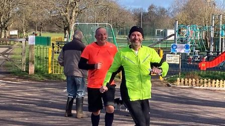 Mark Norton and Rob Waggett smiling through the park