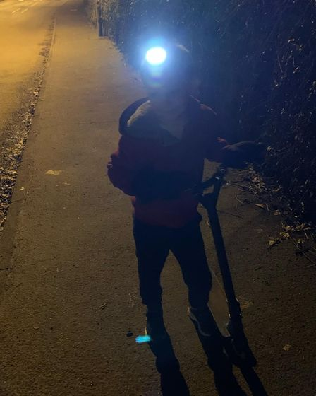 Owen Haynes completed some of his Scootathon for The Captain Tom Foundation in the dark