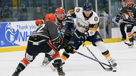 Everyone Active Raiders captain Aaron Connolly in action against Telford Tigers