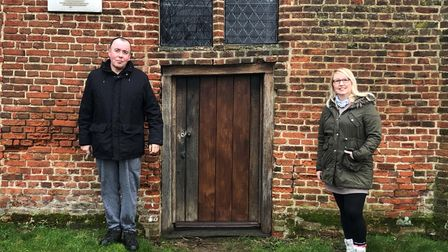 Astrid Gillespie and Rev Canon Paul Hamilton outside All Saints, East Horndon