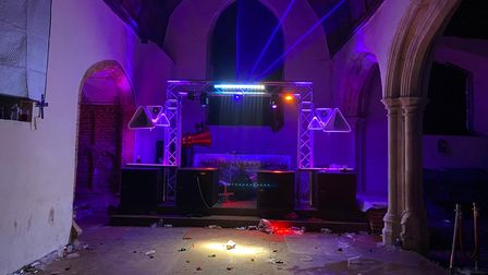 It believed more than 300 revellers were partying in the Tudor church