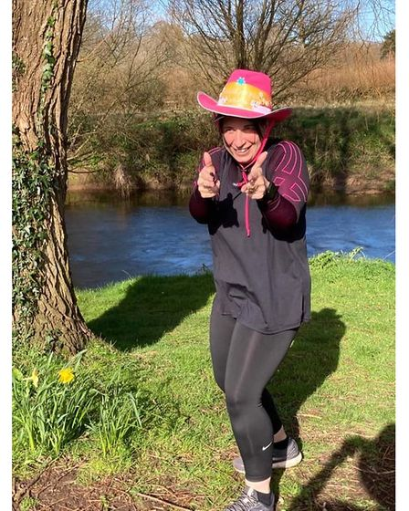 Jenny Kay wearing a hat for Brain Tumour Research