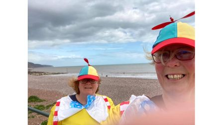 'Tweedle Dee and Tweddle Dum' on Wear a Hat day in Sidmouth