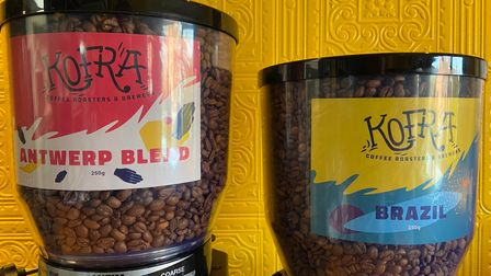 Coffee beans from Kofra coffee shop.