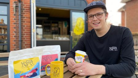 A new Kofra coffee shop has opened in Trowse, just outside Norwich, pictured is general manager Simeon Jankowski.