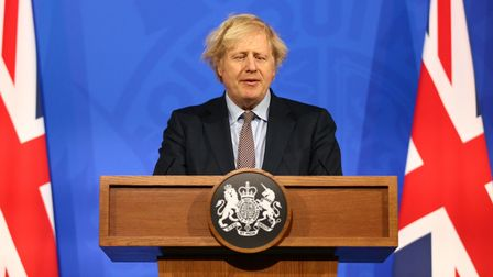 Prime Minister Boris Johnson during a media briefing on coronavirus from Downing Street.