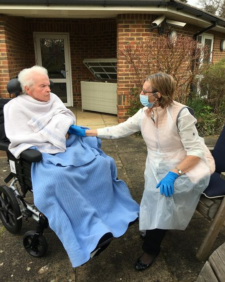 Kennedy Leslie welcomed a visit from his wife Wendy under the latest care home rules