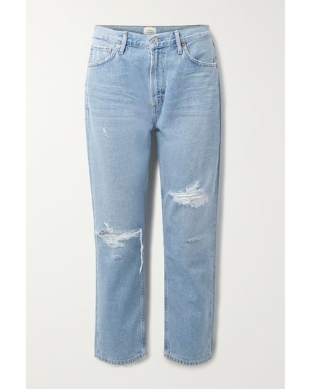 Citizens of Humanity Marleecropped distressed organichigh-rise tapered jeans
