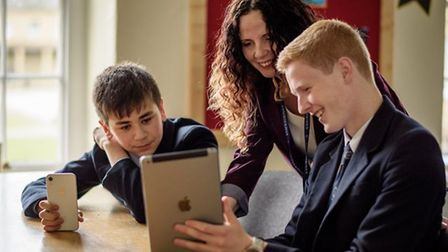Students and teachers at Ackworth School in Yorkshire using iPads in the classroom