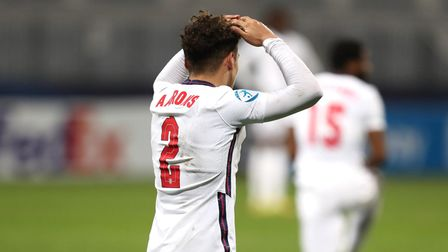England's Max Aarons appears dejected during the 21 UEFA European Under-21 Championship match at the
