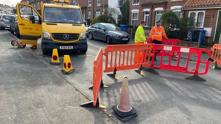 Work underway to investigate the cause of the Beaconsfield Road in Norwich.