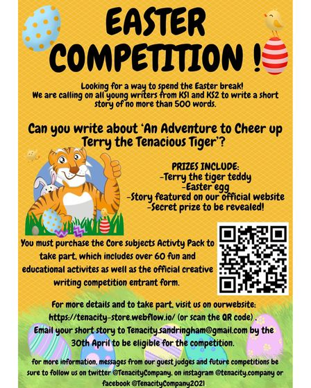 Tenacity's Easter creative writing competition is open to Key Stage 1 and 2 pupils across St Albans