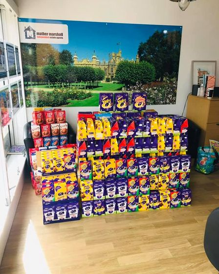 A Knebworth estate agent and a Hatfield funeral director donated Easter eggs to Lister Hospital in Stevenage
