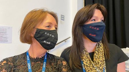Staff wearing Coopers' Company and Coborn School masks